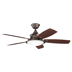 Weathered Copper Powder Coat W/ Medium/dark Walnut Cameron 52in. Indoor Ceiling Fan with 5 Blades - Includes Cool-Touch Remote, Light Kit and 4in. Downrod