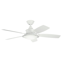 White With White/white Blades Cameron 52in. Indoor Ceiling Fan with 5 Blades - Includes Cool-Touch Remote, Light Kit and 4in. Downrod