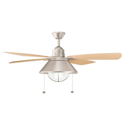 Brushed Nickel 54in. Energy Star Outdoor Ceiling Fan with 4 Blades - Includes Light Kit and 12in. Downrod