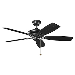 Satin Black W/ Satin Natural Black Blades Canfield 52in. Indoor Ceiling Fan with 5 Blades - Includes 4in. Downrod