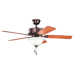 Oil Brushed Bronze Renew Select 50in. Indoor Ceiling Fan with 5 Blades - Includes Light Kit, 4in. Downrod