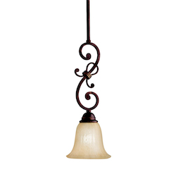Carre Bronze Wilton Single-Bulb Indoor Pendant with Bell-Shaped Glass Shade - 106603