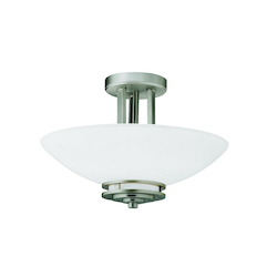 Brushed Nickel Hendrik 2 Light Semi-Flush Indoor Ceiling Fixture