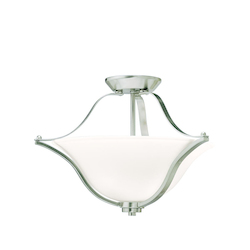 Brushed Nickel Langford 2 Light Semi-Flush Indoor Ceiling Fixture