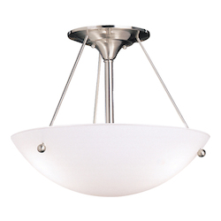 Brushed Nickel Family Spaces 3 Light Semi-Flush Indoor Ceiling Fixture