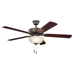 Satin Natural Bronze Basics Revisited 52in. Indoor Ceiling Fan with 5 Blades - Light Kit, 4in. Downrod