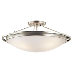 Kichler Four Light Brushed Nickel Bowl Semi-Flush Mount - 42025NI