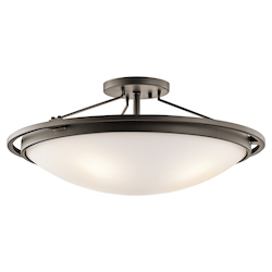 Kichler Four Light Olde Bronze Bowl Semi-Flush Mount - 42025OZ