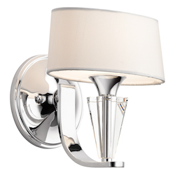 Chrome Modern 1 Light Up Lighting Wall Sconce from the Crystal Persuasion Collection