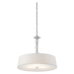 Chrome Crystal Persuasion 3-Bulb Indoor Pendant with Tapered Fabric Shade