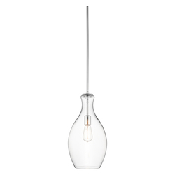 Chrome Everly Single Light 9in. Wide Mini Pendant with Clear Teardrop Glass Shade