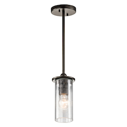 Olde Bronze Kayde Single-Bulb Indoor Pendant with Cylindrical Glass Shade