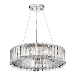 Chrome Crystal Skye Single-Tier  Chandelier with 8 Lights - Stem Included - 21 Inches Wide
