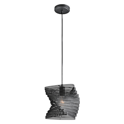 Black Single-Bulb Indoor Pendant with Customized Fabric Shade