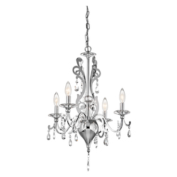 Chrome Rizzo Single-Tier Mini Chandelier with 4 Lights - 72in. Chain Included - 18 Inches Wide