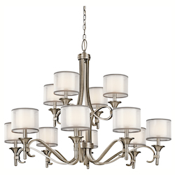 Antique Pewter Lacey 12 Light 42in. Wide 2-Tier Chandelier with Organza Shades and Diffusers