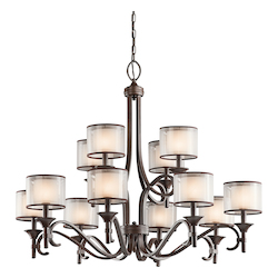Lacey Collection 12-Light 42 Mission Bronze Chandelier with Satin-Etched Inner Diffusers and Light Umber Translucent Organza Outer Shades 42383MIZ