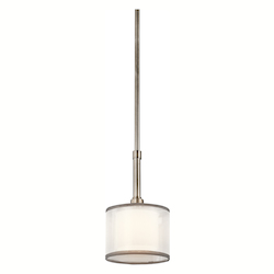 Antique Pewter Lacey Single Light 6in. Wide Pendant with Organza Shade and Diffuser