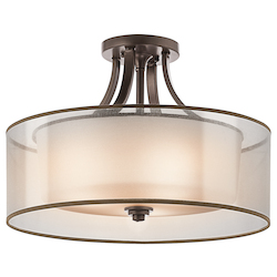 Antique Pewter Lacey 4 Light 20in. Wide Semi-Flush Ceiling Fixture with Organza Shade and Diffuser