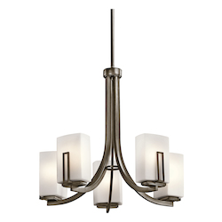 Leeds Collection 5-Light 22 Shadow Bronze Chandelier with Satin Etched Glass 42426SWZ