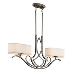 Leighton Collection 4-Light 19 Old Bronze Finish and White Fabric Shades Convertible Chandelier/Semi-Flush 42480 OZ