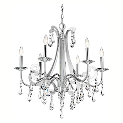 Chrome Leanora Single-Tier  Chandelier with 6 Lights - 72in. Chain Included - 28 Inches Wide