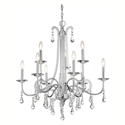 Chrome Leanora 2-Tier  Chandelier with 9 Lights - 72in. Chain Included - 34 Inches Wide