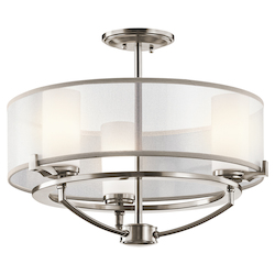Classic Pewter 3 Light Convertible Chandelier / Semi-Flush Ceiling Fixture from the Saldana Collection- 18 Inches Wide