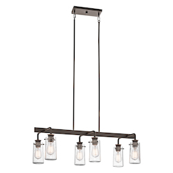 Olde Bronze Braelyn Single-Tier Linear Chandelier with 6 Lights - Stem Included - 34 Inches Wide