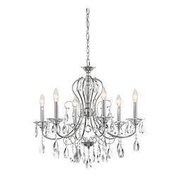 Chrome Jules Single-Tier  Chandelier with 6 Lights - 72in. Chain Included - 25 Inches Wide