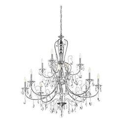 Chrome Jules 2-Tier  Chandelier With 12 Lights - 72In. Chain Included - 44 Inches Wide