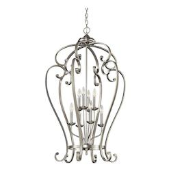 Brushed Nickel Monroe Foyer Chandelier with 8 Lights - 27in. Wide