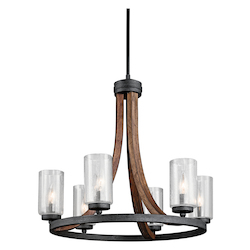Auburn Stained Grand Bank 6 Light 25in. Wide Chandelier with Seedy Glass Shades