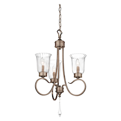 Brushed Silver And Gold Malina Single-Tier Candle-Style Chandelier with 3 Lights - 72in. Chain Included - 19 Inches Wide