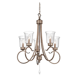 Brushed Silver And Gold Malina Single-Tier Candle-Style Chandelier with 5 Lights - 72in. Chain Included - 26 Inches Wide