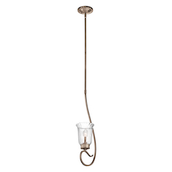 Brushed Silver And Gold Malina 3-Bulb Indoor Pendant with Bell-Shaped Glass Shade