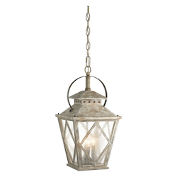 Distressed Antique White Hayman Bay 4-Bulb Indoor Pendant with Lantern-Style Glass Shade