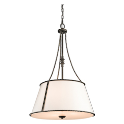 Kichler Three Light Olde Bronze Drum Shade Pendant - 43341OZ