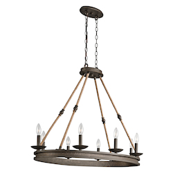 Olde Bronze Kearn 1 Tier Chandelier with 8-Lights - 72in. Chain Included - 38 Inches Wide