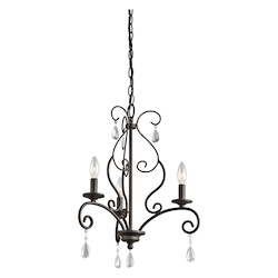 Kichler Three Light Olde Bronze Up Mini Chandelier - 43447OZ