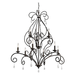 Kichler Nine Light Olde Bronze Up Chandelier - 43449OZ