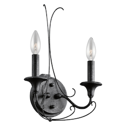 Kichler Two Light Distressed Black Wall Light - 43456DBK