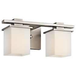 Antique Pewter Tully 2 Light 15in. Wide Vanity Light Bathroom Fixture with Satin Etched Glass Shades