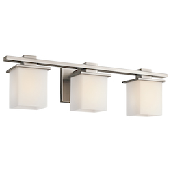 Antique Pewter Tully 3 Light 24in. Wide Vanity Light Bathroom Fixture with Satin Etched Glass Shades