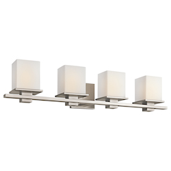 Antique Pewter Tully 4 Light 32in. Wide Vanity Light Bathroom Fixture with Satin Etched Glass Shades