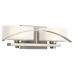 Brushed Nickel Suspension 2 Light 20in. Wide Vanity Light Bathroom Fixture with Etched Glass Shades