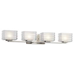 Brushed Nickel Bazely 33in. Wide 4 Light Bathroom Vanity Light