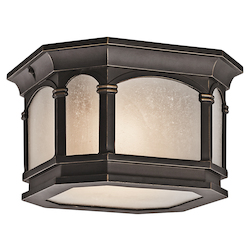 Rubbed Bronze 2 Light Outdoor Ceiling Fixture from the Duquesne Collection