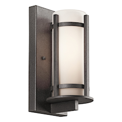 Anvil Iron Camden Single Light 11in. Tall Outdoor Wall Sconce with Etched Glass Shade