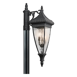 Black W/gold Three Light Outdoor Post Light from the Venetian Rain Collection